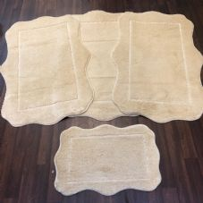 ROMANY WASHABLES GYPSY MATS 4PC SETS NON SLIP SCOLLOP DESIGN CREAM IVORY RUGS